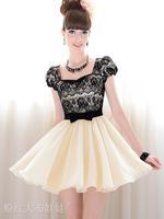 2015 Fashion Summer Dress Knee-length Casual Dresses Puff Sleeve Women Clothing DRESS-58955