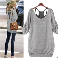 Fashion Womens Loose Casual Cotton Long Sleeve T Shirt Tops Back Hollow Blouse