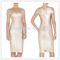 2015 new arrival high quality gold foil off shoulder short sleeve knee length bandage Celebrity dress Party Evening Dresses HL