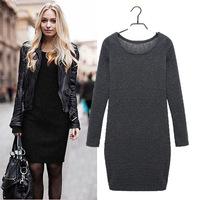 2014/2015 New Women Winter/Autumn Dress Pure Color Soft Velvet Casual Dress Long Sleeve Casual Women Knit Dress zex192
