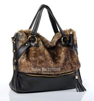 Winter New Fashion Rabbit Fur Handbags Fringed Shoulder Bag Large Capacity PU Woman Handbag Large Bag