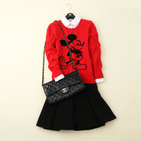 Free shipping 2014 autumn and winter Mickey o-neck cashmere sweater women sweaters and pullovers 100% wool christmas sweater