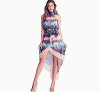 Halter chest wrapped lace halter dress asymmetrical chiffon dress