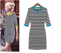 WZ12-28 2015 Spring New Women'S Fashion Round Neck Dress Hit The Color Stripes Slim Thin Sleeve Dress