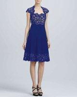 Free Shipping Elegant Pleated Lace Dress 141210W15