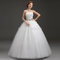 2014 white tube top type fashion bandage wedding dress plus size wedding dress