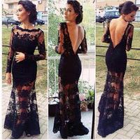 Honey Moda 2014 Women Elegant Black Prom Dress Slim Long Sleeve Openwork Sexy Halter Lace Evening Party Maxi Dresses Vestidos