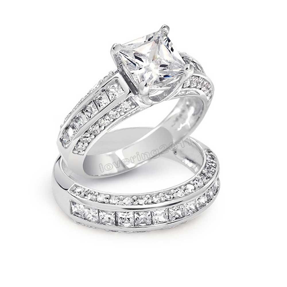 Victoria Wieck Princess cut Topaz Simulated Diamond 10KT White Gold Filled Wedding Band Ring Set Sz