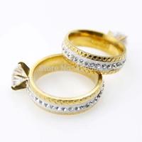 MOQ $10 Jewelry 18K Gold Shinning Rhinestone  Stainless Steel Ring Factory Wholesale  Price Men and Women  Rings