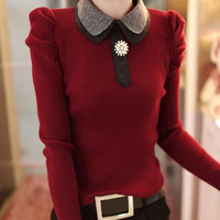 2 Colors FREE SHIPPING 100% COTTON LONG SLEEVE SLIM ladies WOMEN SWEATER WARM TURN-DOWM COLLAR LADY PULLOVER BLACK & WINE RED