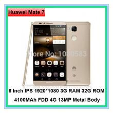 Original Huawei Ascend Mate 7 4G FDD LTE Smart Phone Kirin 925 Octa Core Android 4.4 3GB RAM 32GB ROM 6″ FHD Screen 13MP Camera