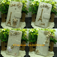 1 Pcs Pretty handmade Bling Flower Tower Angel Butterfly Bow Flip PU Leather Case For Nokia Lumia 730 735