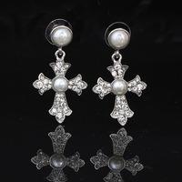 2014 Vintage Jewelry For Women Zinc Alloy Cross Dangle Earrings Gold & Silver Plated Double Pearl Drop Earrings Free Shipping
