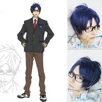 Angelaicos Free Rei Ryugazaki Boy Ink Blue Short Unrestrained Christmas Costume Cosplay Wig