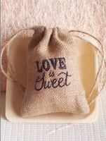 New arrrival 2015  Vintage Wedding decoration Favors Hessian Burlap pouch Love Is Sweet Jute Gift drawstring Bags (10*15cm)
