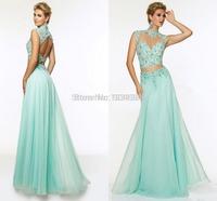 Elegant Two Piece Prom Dresses 2015 High Neck Cheap Chiffion Long Evening Party Dress Plus Size Women Gown Vestidos De Fiesta