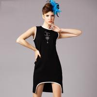 2015 brand new summer fashion ladies Asymmetrical sleeveless O neck tank diamonds casual dress women dress black plus size S-5XL