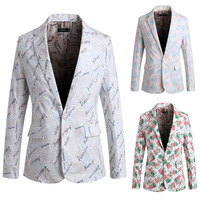 2014 hot sale new Alphabet printed  Leisure suits fashion men's suit or tops for men in stock free shipping PK01