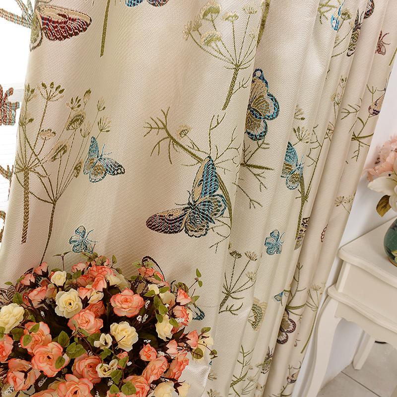 Haut niveau grande jacquard de soie color salon rideaux tissu papillon rideaux aveugles cortina Utilisation de tissus dans le salon