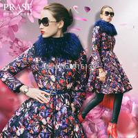 Prase 2015 X-long Winter Down Coat Luxury Raccoon Fur Collar Butterfly Print White Duck Down Jacket Plus Size XXL Overcoat Parka