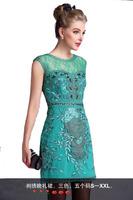 Free Shipping New Arrival 2015 Elegant Mesh Embroidered & Bead Mini Slim Dress 141210W12