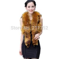 New arrival 100% natural raccoon dog fur collar trimmed vest genuine leather best gilet
