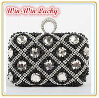 2015 New Women Vintage Pearl Handbag Hand-beaded Plaid Diamond Ring Finge Clutch Evening bagr. Wedding Purse Shoulder Bag