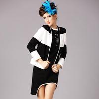 2015 new spring antumn fashion ladies Black and white stripe long sleeve ip V neck cardigan jacket outwear coat plus size S-5XL