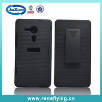 hoslter black hard case for mobile phone with kickstad and belt clip  for SONY C5303