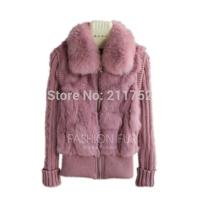 Brand New natural rabbit fur jacket with real fox fur collar real rabbit fur coat in stock