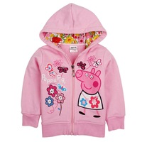 Free shipping Peppa Pig pure cotton hoodie, girl hoodie,cartoon hooded jacket,5pcs/lot
