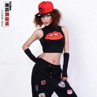 2015Fashion Sexy High Neck Tank Hiphop Dancing Costume Sleeveless T-Shirt Slim-line Short Top For Jazz Performance Bar Nightclub