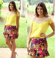blusa de renda women tule blusa feminina renda o-neck yellow short sleeve lace mesh Blouse blusas femeninas