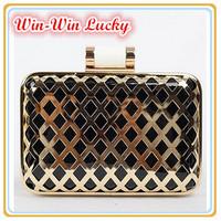 2015 New Women Evening Bag PU Leather Hollow Golden Frame Clutch  Shoulder Bag Purse Handbag Yellow Pink Black Free Shipping