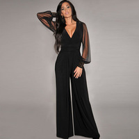 Autumn fashion women's casual pants Dilameng long sleeved V neck waist mosaic loose jumpsuits bell bottoms 6650