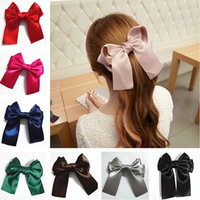 Hotsale Solid Color Satin Ribbon Big Bow Hair Clips/ Hairpins Headwear for Women Hair Accessories 8 Colors