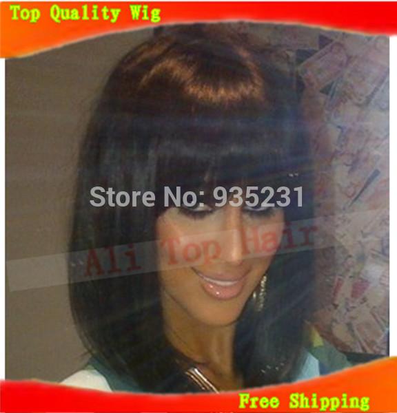 6A grau Celebrity style curto bob frente perucas sintéticas curtas feminino haircut perucas de cabelo preto franja cheia para as mulheres negras(China (Mainland))