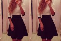 New Women Lady Fashion Celeb Hit Colour High Wasit Pleated Club Party Mini Dress