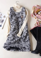 Fashion autumn and winter sleeveless o-neck pearl woolen tank dress