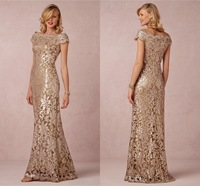 Gorgeous Mother Of The Bride Lace Dresses Boat Neck Short Sleeve A Line Floor Length Sequined Tulle Evening Dress