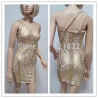 Free shipping 2015 new arrival high quality gold foil one shoulder bandage Celebrity dress Party Evening Dresses HL