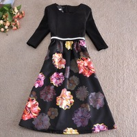 2014 Winter Women fashion brand Dress Princess Ball Gown Long Black Print Floral Patchwork Plus Size casual Dresses SY2711
