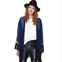 2015 New Fall Europe Retro Romantic Soviet Nation Kimono Jacket Cardigan Tunic Female Outwear   xjh253