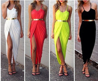 Hot women's  sleeveless  sexy fashion  slim sexy hip cultivate one's morality  shoulder-straps with belt dress