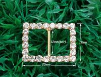 12mm inner bar,20pcs/lot  Craft Buckle Rhinestone DIY party Wedding Ribbon gold Buckle Bridal Invitation Supplies A11