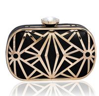 Woman Mini Handbags Clutch Female Metal hollow Hard Shell Evening Bags Chain Shoulder Messenger Bag High-Grade Clutch Bag