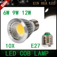 10pcs High quality  E27  6w 9w 12w  85-265v  COB  dimmable Spotlight  gu10 mr16  cob lamp  bulbs warm/cool white  free shipping!