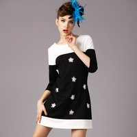2015 new spring antumn formal ladies silm half sleeve O neck appliques patchwork work dress casual fashion dress plus size S-5XL