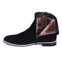 Men Black Winter Boots Women Keep Warm Shoes Leather Boot Sued Footwear Plush Lining TIDING 2293-01