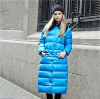 Down Coat Women Winter Long Slim Thick Solid Pockets Womens Winter Jacket Fur 2015 New Fur Collar Down & Parkas